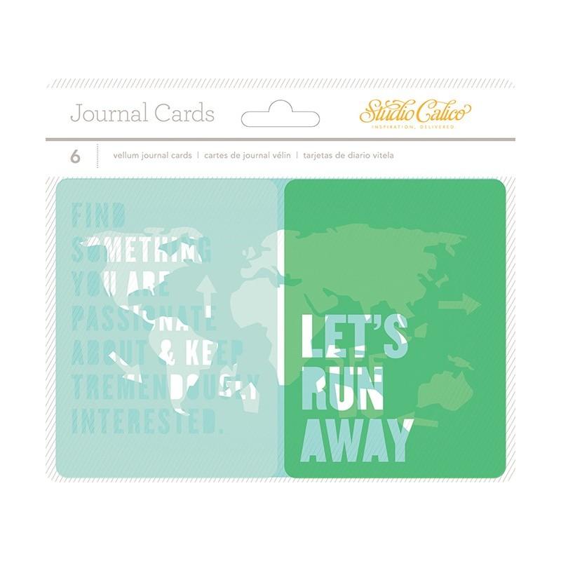Lot de 6 cartes en papier très fin sur le thème des voyages