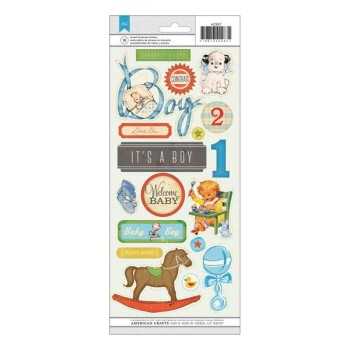 Stickers vintage baby boy - planche de Stickers sur fond transparent