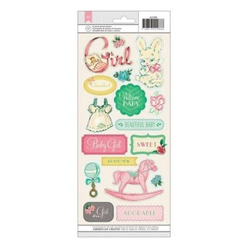 Stickers vintage baby girl- planche de Stickers sur fond transparent
