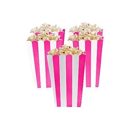 Set de 5 boîtes à popcorn - coloris rose et blanc
