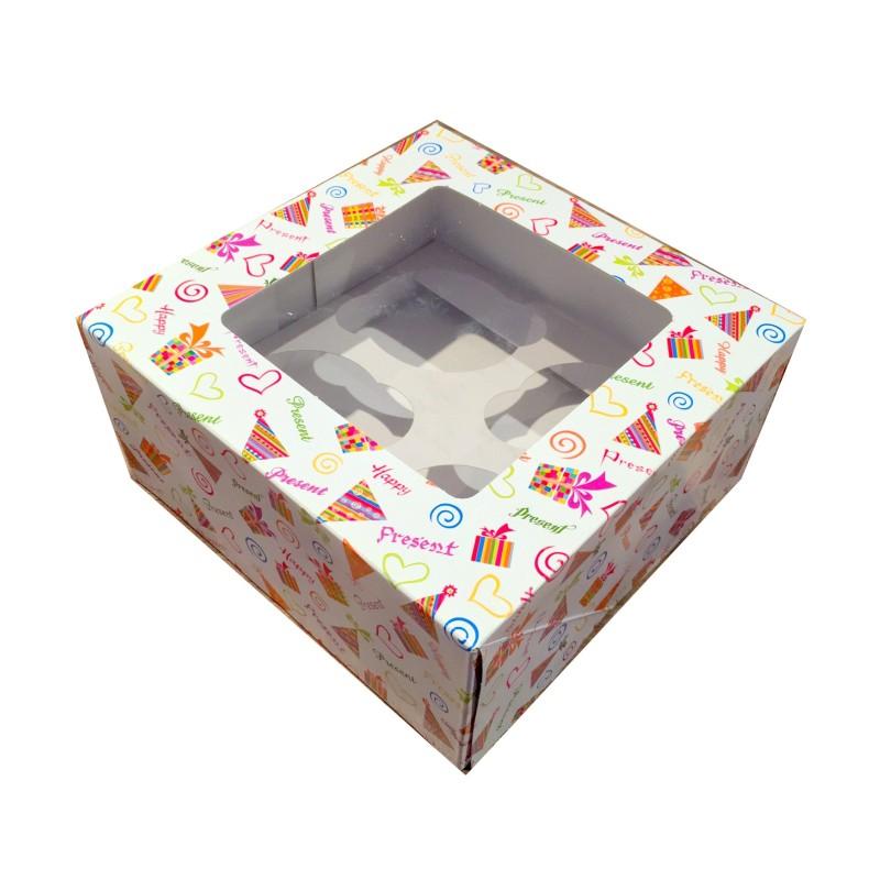 Boîte à cupcakes avec fenêtre - Imprimée motifs de fête