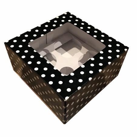 Boîte à cupcakes avec fenêtre - Noire Imprimée pois blanc