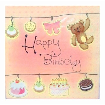 "Lot de 20 serviettes en papier ""Happy birthday"""
