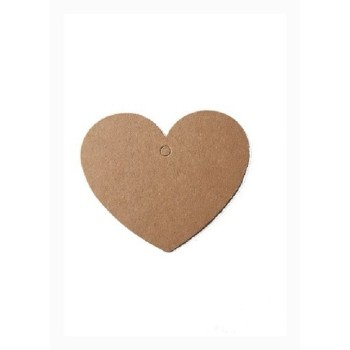 Lot de 10 étiquettes craft coeur - marron