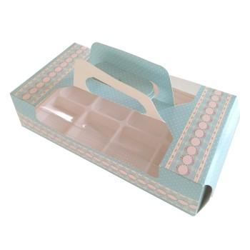 Boîte à pâtisseries imprimée fleurs et pois