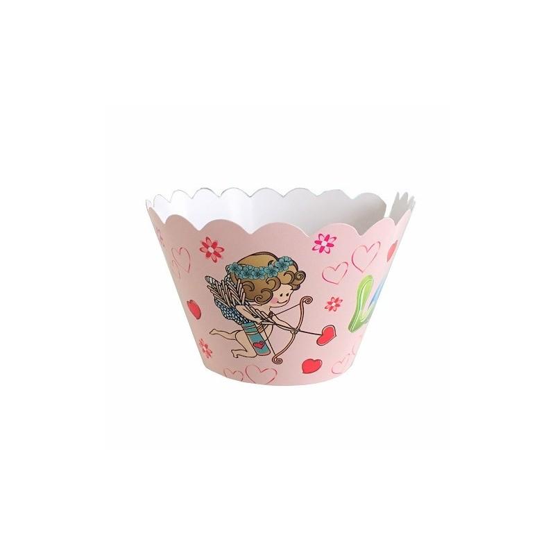 """Lot de 12 caissettes décoratives """" Love """"  - cupcake wrap"""