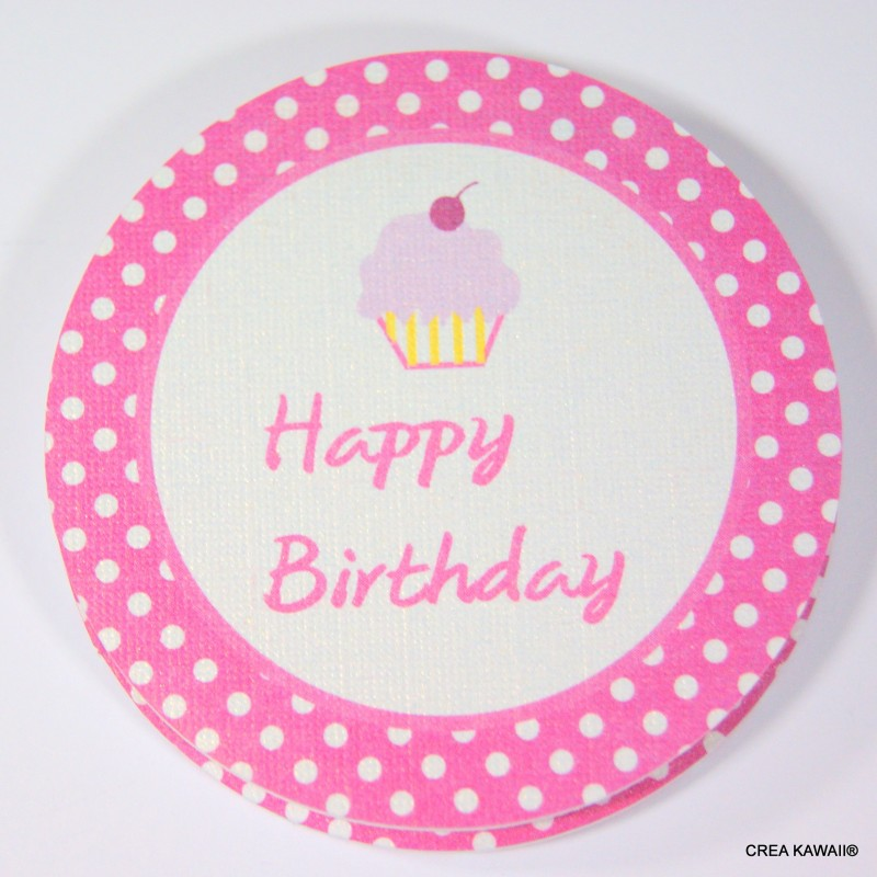 """""""Toppers"""" décoratifs pour cupcakes - Happy birthday cupcakes rose"""