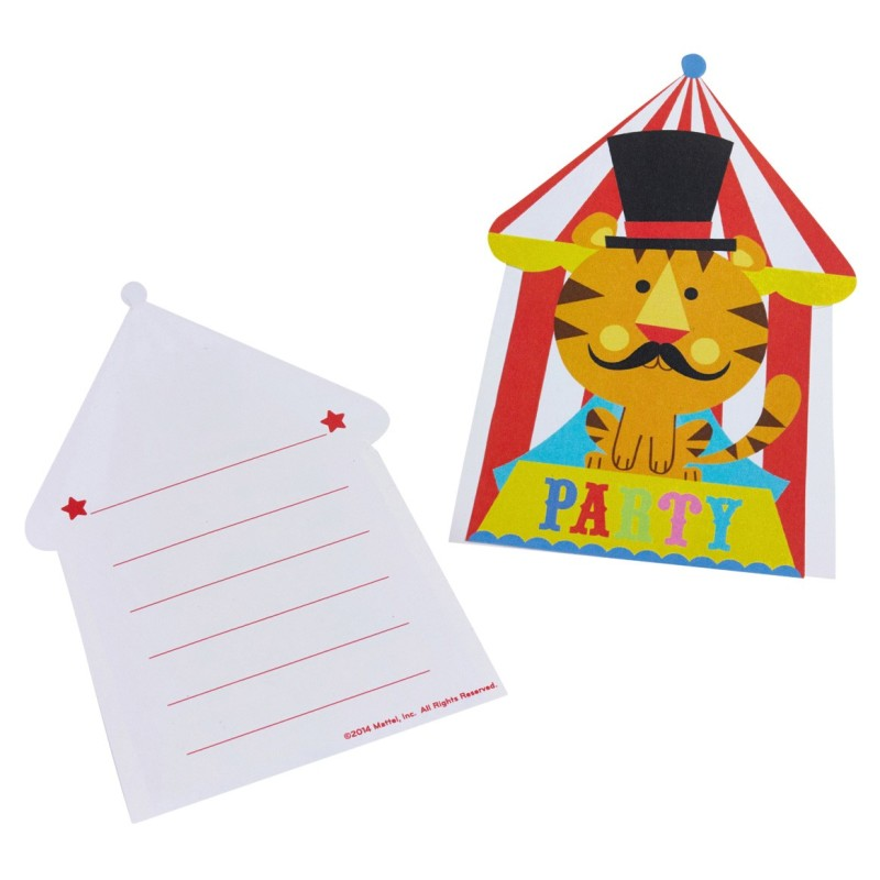 """Set de 8 invitations avec enveloppes  """"Circus Party"""""""