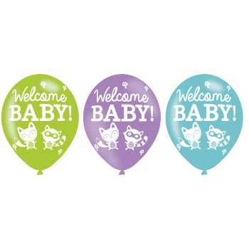 "Set de 6 ballons imprimés "" Welcome Woodland"""
