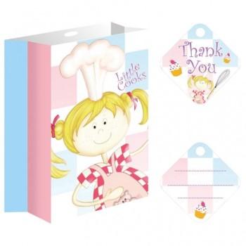 Set de 8 sacs de fête en papier avec rubans et étiquettes Little Cooks