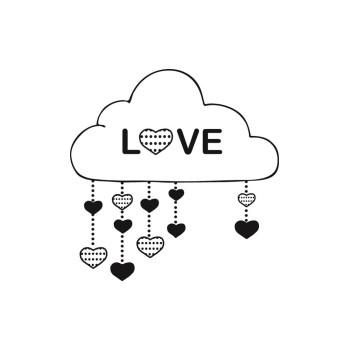 Tampon en bois cœur dans les nuages