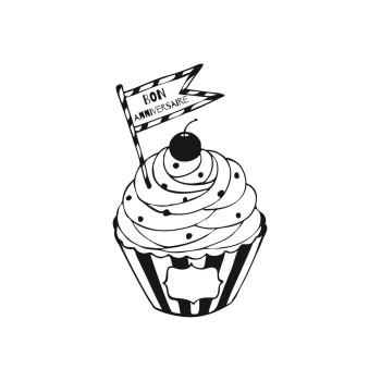 Tampon en bois cupcake anniversaire