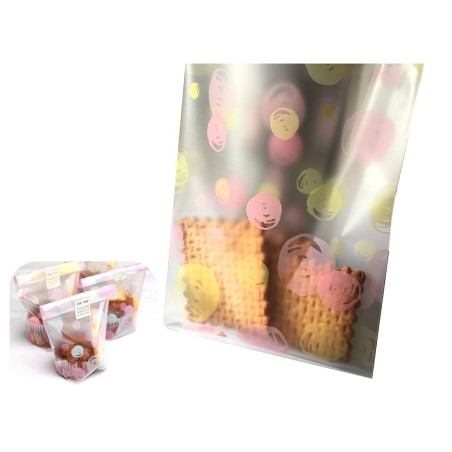 Sachet fantaisie transparent imprimé rose et jaune - Lot de 10 sachets