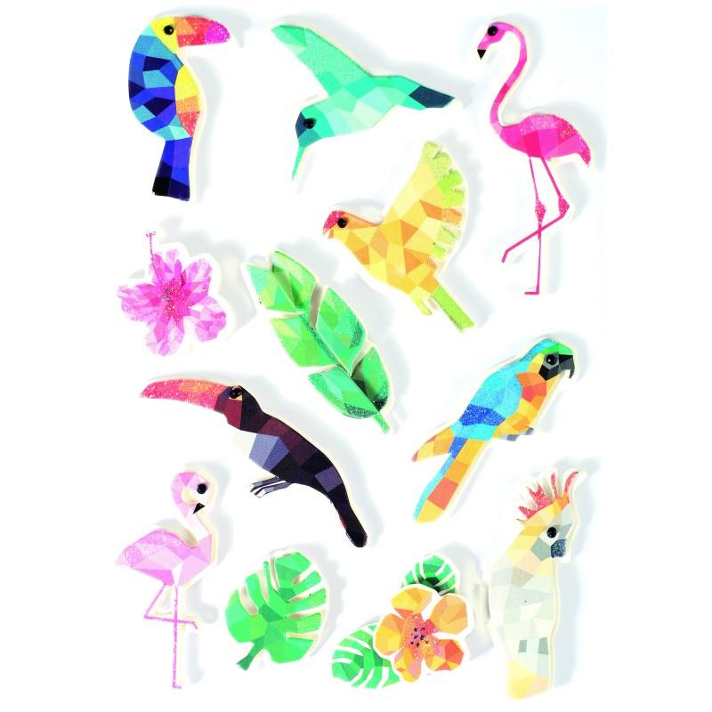 Stickers effet 3D  oiseau tropical - 12 autocollants