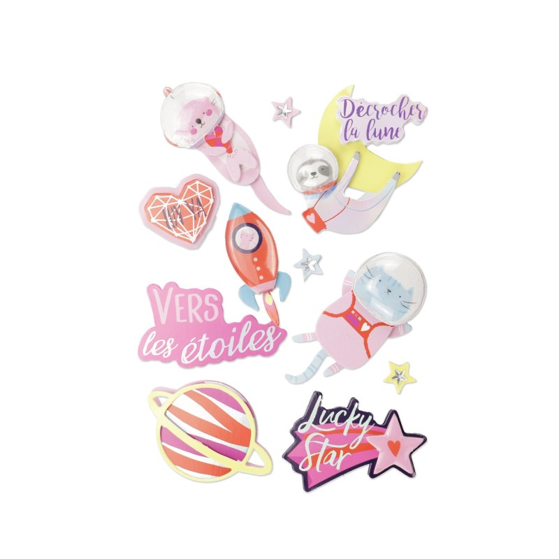 Stickers effet 3D galaxie kawaii - 10 autocollants