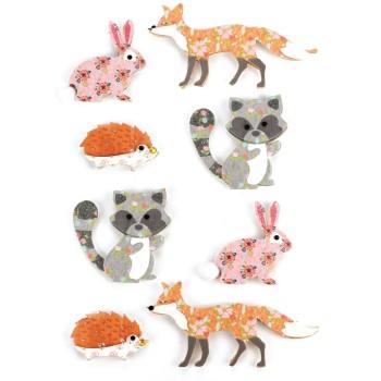 Stickers effet 3D animaux de la forêt - 8 autocollants