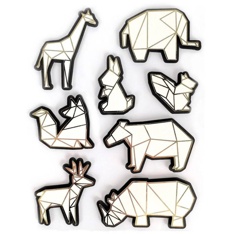 Stickers effet 3D animaux du zoo origami - 8 autocollants
