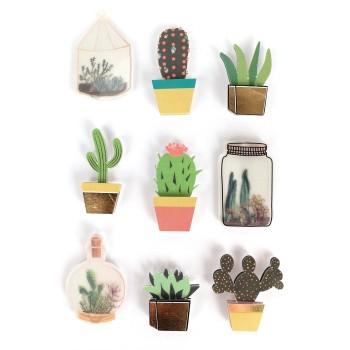Stickers effet 3D cactus - 9 autocollants