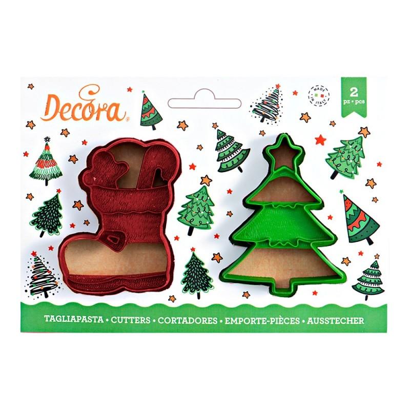 Emporte pièce botte et sapin de Noël